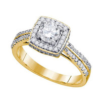 Diamond Bridal Ring with 0.60ct Center Round Stone in 14k Gold 1 ctw
