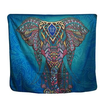 Papa&Mima Indian Traditional Elephant Tapestries Decorative Wall Hanging Multi Color Blue