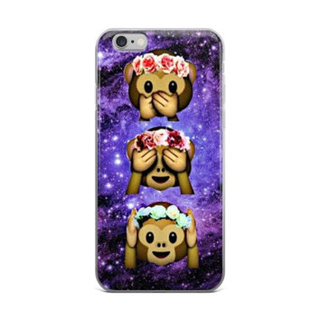 Flower Crown Monkey Emoji's In The Galaxy Teen Cute Girly Girls Purple & Dark Blue iPhone 4 4s 5 5s 5C 6 6s 6 Plus 6s Plus 7 & 7 Plus Case