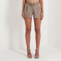 Suede Lace-Up Short - Nude
