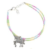 Rainbow Unicorn Ankle Bracelet - Beaded Fantasy Anklet Colorful Pastel