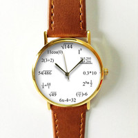 Math Formula Watch , Equation Watch, Vintage Style Leather Watch, Women Watches, Mens Watch, Unisex , Boyfriend Watch,