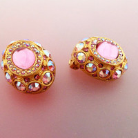 Signed Sphinx for Butler and Wilson Pink and Aurora Borealis Rhinestone Clip On Earrings
