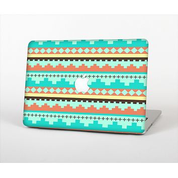 """The Teal & Gold Tribal Ethic Geometric Pattern Skin Set for the Apple MacBook Air 11"""""""