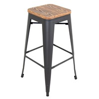 Oregon Industrial Barstool - Set of 2 Medium Brown Top, Grey Finish