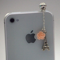 Kawaii MIni Eiffel Tower with Pink Rose by fingerfooddelight