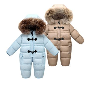 Designed for Russian winter baby snowsuit , 90% duck down jacket for girls coats Winter Park for infant boy snowsuit snow wear