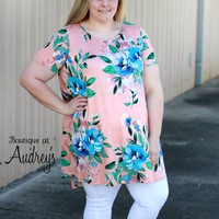 Plus Size Blush Short Sleeve High Low Dress with Bold Floral Print