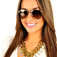 Squared Around You Necklace: Gold - One