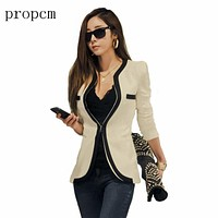 Spring Plus Size Womens Coat 2017 New Women Blazer Long Sleeve Work Office Fashion Casual White Black Suit Basic Fall Jacket