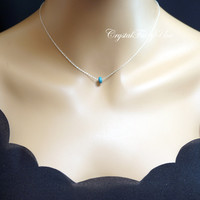 Tiny Turquoise Necklace - Faceted Turquoise Choker - Sterling Silver Turquoise Necklace - Tiny Turquoise Jewelry