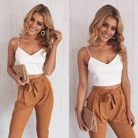 Women  Chiffon Crop Top and Pants Set Two Piece Outfit