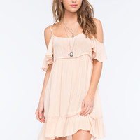 Others Follow Cold Shoulder Dress Rose  In Sizes