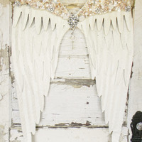 Angel Wing Wall Decor,Large Angel Wings,Ivory Angel Wings,Angel Wings,Angel Decor,Angel Wings Wall Art,Angel Wings Art,Jeweled Angel Wings