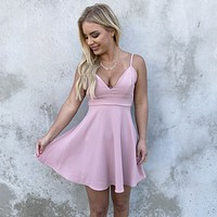 Love Affections Skater Dress in Blush Pink