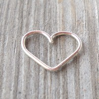 Heart Daith piercing ring,cartilage,helix,tragus,ear hoop earring 20 Gauge,925 Sterling Silver Heart