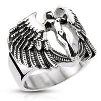 Road Angel – FINAL SALE Black oxidized stainless steel protection angel ring