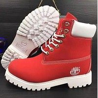 Timberland Rhubarb boots for men and women shoes waterproof Martin boots lovers Pure white