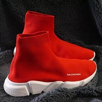 Balenciaga high-top embroidered monogram platform casual shoes sneakers Red&White