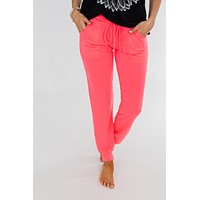 Solid Lounge Joggers- Neon Pink