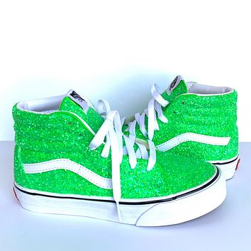Glitter Classic Vans - Lime Green Sneakers - Neon Green High Tops