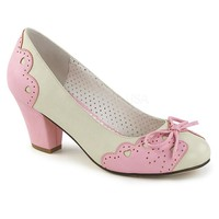 Pin Up Couture Wiggle Pink and White Cuban Heel Pumps