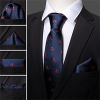 Red Skull Men Tie Set 8.5cm Silk Handkerchief
