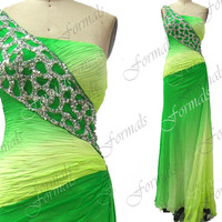 One Shoulder with Beaded Long Chiffon Green Prom Dresses, Homecoming Dresses, Evening Gown