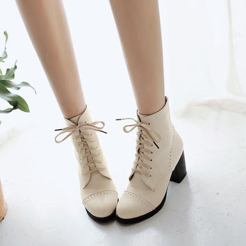 Lace Up Pu Leather Stitching Chunky Heels Ankle Boots 2407