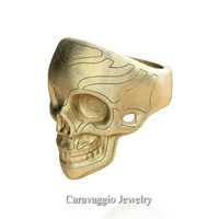 Mens Modern Italian 14K Yellow Gold Skull Ring R635-14KYGS3