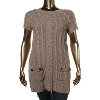 Style & Co. Womens Plus Cable Knit Short Sleeves Tunic Sweater