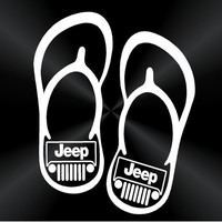 Flip Flop Jeep Decals, 4x4 Decals, Flip Flop Decals, Jeep Decals, Laptop, Window Vinyl Decals, Stickers 10458