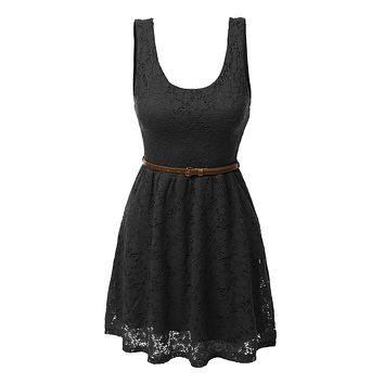 Sleeveless Lace Crochet Flared Dress with Belt (CLEARANCE)