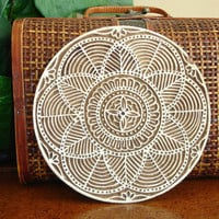 Clay Stamp, Flower Stamp, Hand Carved Wood Printing Block, Large Indian Circle Stamp, Round Wooden India Ceramic Tile Pottery Stamp