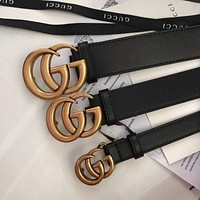 GUCCI Men's and women's classic double G buckle belt