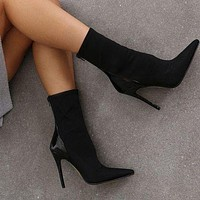Fashion Shoes New Elastic Cloth Coloured High-heeled Knight Boots