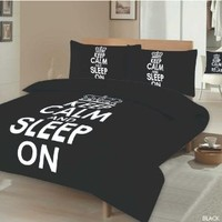 KEEP CALM LUXURY PRINTED DOUBLE BED DUVET COVER BEDDING SET + PILLOWCASE BLACK