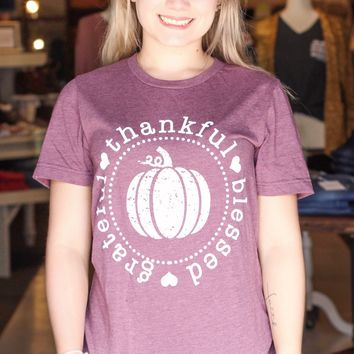 {H. Plum} Thankful Grateful Blessed Pumpkin