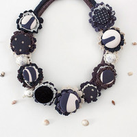 Navy blue and white necklace, statement nautical jewerly, OOAK crochet necklace,