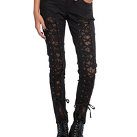 Royal Bones By Tripp Lace-Up Inset Skinny Jeans