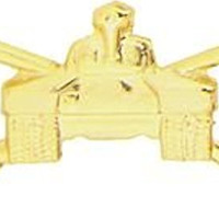Armored Tank Small Hat Pin with Crossed Swords