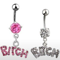"{Pink} Navel Belly Button Ring with Gem and Dangle Bitch - 14GA 3/8"" Long - Pink (Sold Ind.)"