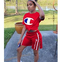 Champion Trending Woman Stylish Print Short Sleeve Top Shorts Set Two Piece Red