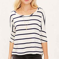 Chaser Striped High/Low Boxy Top- Grey