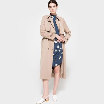 Solid Khaki Women Street Casual Coats Autumn Turn Down Collar Double Breasted Outwears Natural Loose Trench Coats