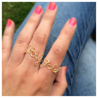Stay Gold Adjustable Wire Script Set of Rings