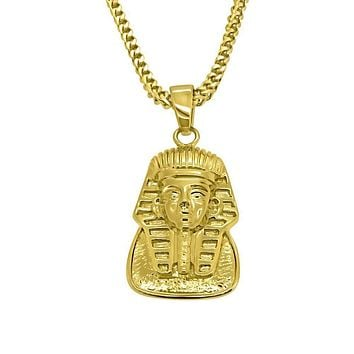 HipHop Gold Egyptian Pharaoh Pendant w Franco Chain