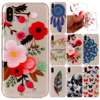 iPhone X Case Silicone Transparent TPU Cartoon Butterfly flower donuts pattern Case for iPhone 10