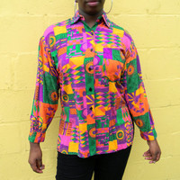 The Fresh Prince of Bel Air Blouse, Vintage 90s Tribal Graphic Art Shirt w Geometric All Over Print, Old School Hip Hop, Size L Large