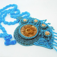 Beaded necklace Sand in the Sea - blue and light brown embroidered seed bead jewelry - handmade beadwork on a long cord - leather backside